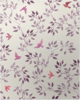 Seamless retro wallpaper with cute birds and ditsy hand painted leaves. Vintage watercolor Poster