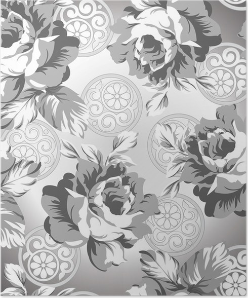 Seamless Silver Rose Flower Background Poster