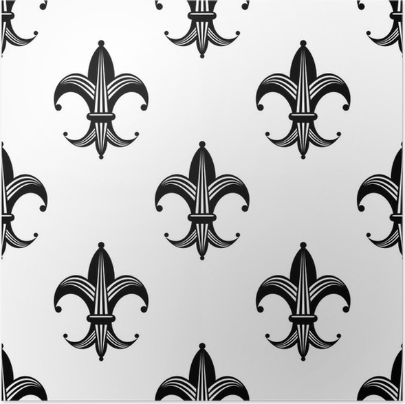 seamless stylized fleur de lys pattern poster pixers we live to