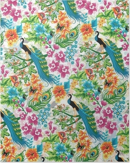 Seamless tropical pattern with peacocks and flowers. Poster