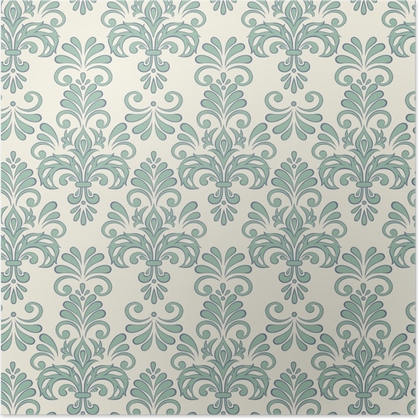 Seamless Vector Floral Wallpaper Baroque Style Pattern Poster