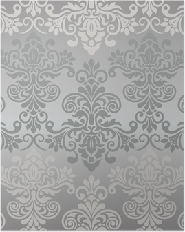 Seamless vintage pattern in grey Poster