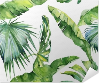 Seamless watercolor illustration of tropical leaves, dense jungle. Pattern with tropic summertime motif may be used as background texture, wrapping paper, textile,wallpaper design. Poster
