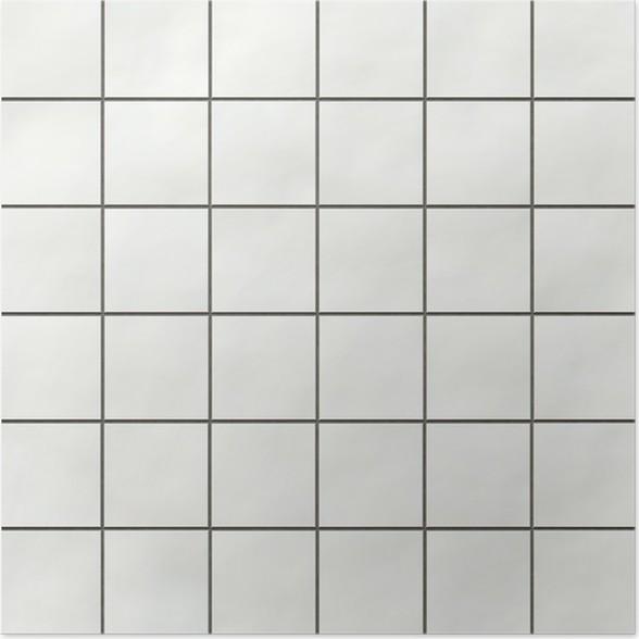 Seamless White Square Tiles Texture Poster