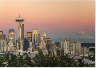 Seattle Skyline and Mount Rainier at Sunset Poster