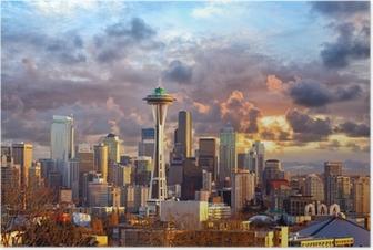 Seattle skyline at sunset, WA, USA Poster