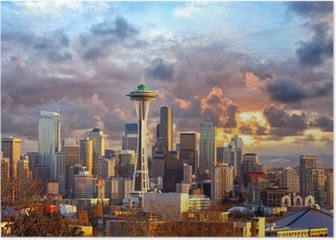 Seattle skyline at sunset, WA, USA Poster