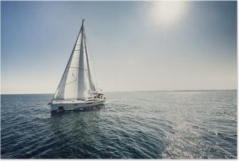 Poster Segelfartyg båtar med vita segel
