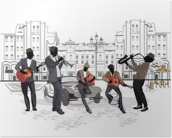 Series of street views with musicians Poster