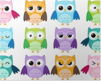 Set of 12 cartoon owls with various emotions Poster