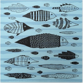 Set of funny fishes. Poster