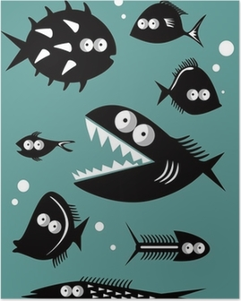 Set of funny fishes Poster