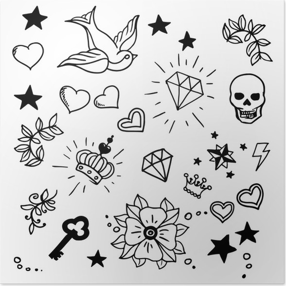Set Of Old School Tattoos Elements Poster Pixers We Live To Change