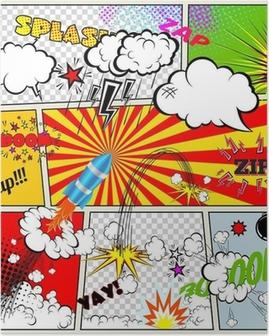 Set of Retro Comic Book Vector Design elements, Thought Bubbles Poster