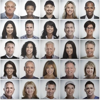 Set of smiling people face. Poster