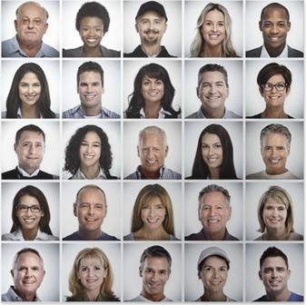 Poster Set van lachende mensen worden geconfronteerd.