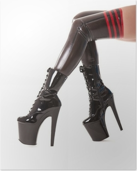 Sexy long legs in latex stockings and high heel boots Poster