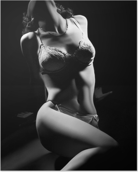 Sexy woman body in lingerie on black. Poster
