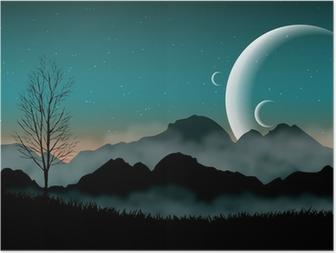 Poster SF espace ciel de nuit avec des montagnes silhouette et planètes proches
