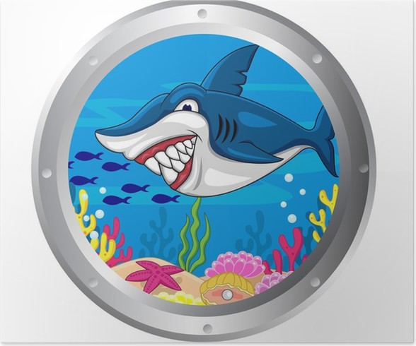 Shark cartoon with porthole frame Poster • Pixers® • We live to change