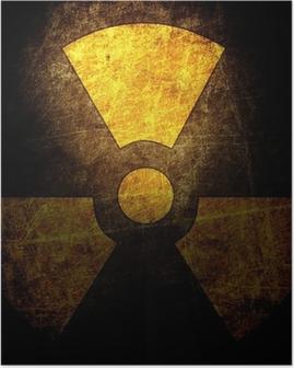 Poster Signe du rayonnement sur le mur grunge