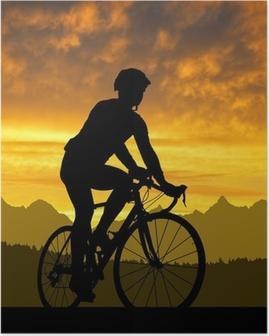 Poster Silhouet van de fietser rijden op een racefiets bij zonsondergang