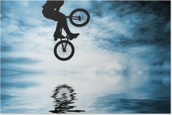 Poster Silhouet van een man doen een sprong met een bmx fiets.