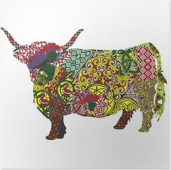 Poster Silhouet van een Schotse hoogland koe in de Keltische patronen
