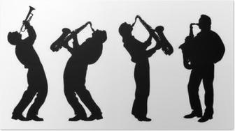 Poster Silhouet van jazzmuzikant
