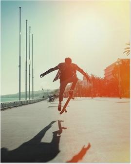 Poster Silhouet van skateboarder
