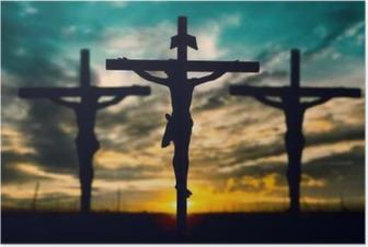 Poster Silhouette de Jésus avec croix sur le coucher du soleil concept pour la religion,