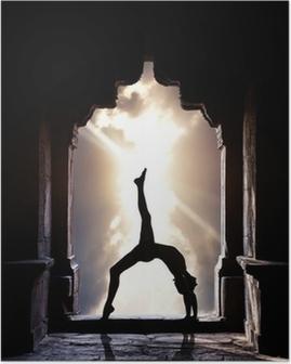 Poster Silhouette de yoga dans le temple