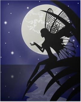 Poster Silhouette fille fée tenant une étoile