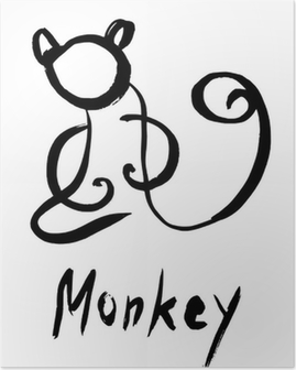 Silhouette of monkey Poster