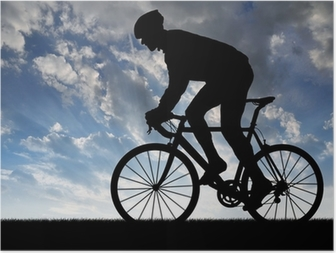 silhouette of the cyclist riding a road bike at sunset Poster