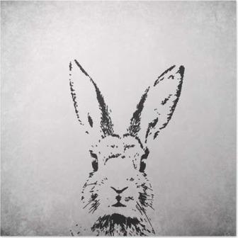 silhouette rabbit backround Poster