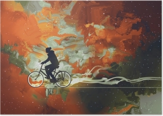 Silhouettes of man on bicycle in universe filled,illustration art Poster