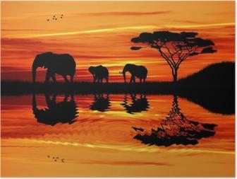Póster Silueta elefante en la puesta del sol