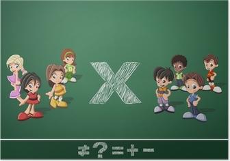 Poster Grupo De Ninos De Dibujos Animados Felices Lindos Que Juegan