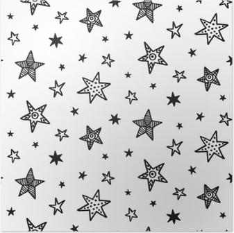 Póster Sin patrón con estrellas dibujadas a mano. estilo escandinavo