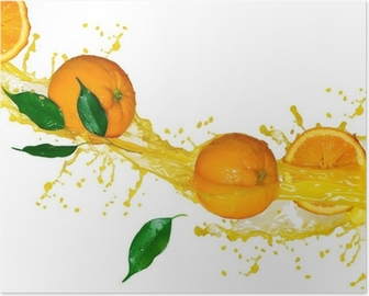 Poster Sinaasappelsap geïsoleerd op wit