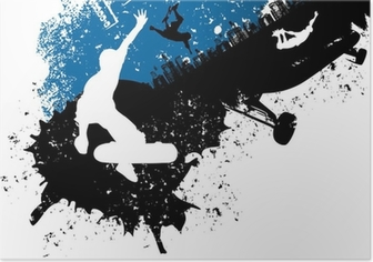 Skateboard freestyle abstract background Poster