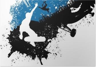 Poster Skateboard freestyle abstrait