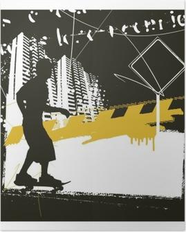 Poster Skater met grunge urban scene