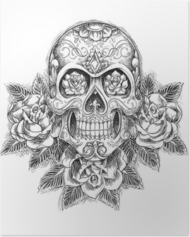 Sketchy Skull with Roses Poster
