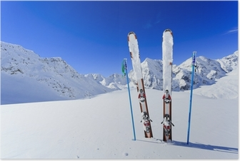 Poster Ski, saison d'hiver, les montagnes et les équipements de ski