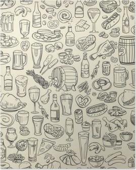 Poster Skissartade öl och tilltugg