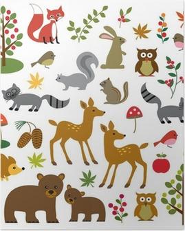 Poster Skogsmark djurliv clipart