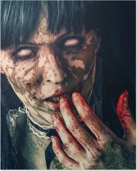 Poster Skrämmande zombie kvinna med blodiga ögon