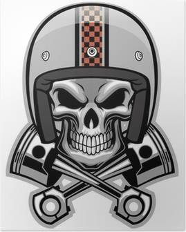 skull and crossed piston Poster